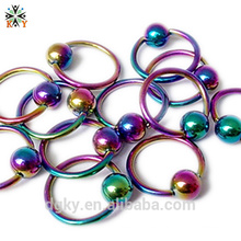 1.6mm anillo de oreja Daith piercing arco iris de titanio anodizado BCR