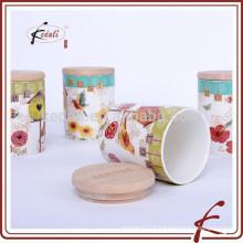 Mettre 3 bocaux de stockage de sucre de café au thé en céramique