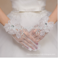 Guantes de mano de la boda guantes de novia de encaje elegante dedo corto sin tirantes de rhinestone para la boda