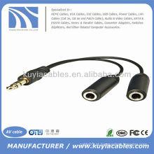 3,5 milímetros macho para dupla 2 fêmea estéreo Y Splitter cabo adaptador