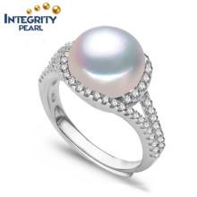 925 Серебряный жемчуг кольцо AAA 9-10мм круглый хлеб натурального жемчуга кольцо