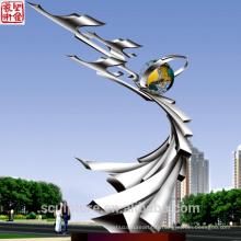 Miroir Jardin Paysage Sculpture Sculpture en jardin en acier inoxydable