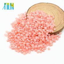 Moda estilo nuevo medio plano trasero perlas sueltas perlas para hacer joyas, Z40-fucsia