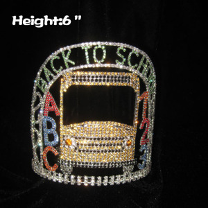 Custom Crystal Back To School Pageant Crowns With ABC