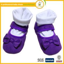 2015Hot vendendo sapatos de bebê princesa com bowknot / Moda bebê garotas velcro pano primeiro caminhantes