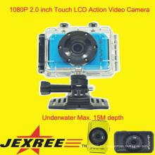 JEXREE SJ200 imperméable à l'eau pleine caméra de casque de sport HDD 1080p mise à niveau
