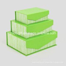 Caixa de presente de embalagem de papel rígida com aba e ímãs