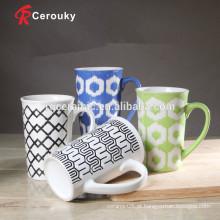 Tipo de copos fabricante de porcelana caneca