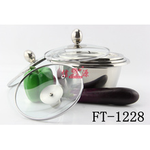 Stainless Steel Thickness Bowl with Glass Lid (FT-1228)