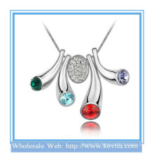 Costume jewellery,artificial american diamond jewelry white gold horn button colorful crystal necklace