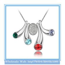 Jóias de fantasia, jóias de diamante americanas artificiais ouro branco chifre colar de cristal colorido