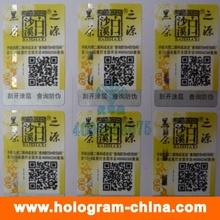 Autocollants hologrammes anti-contrefaçon avec impression de code Qr