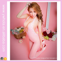 Pink Fishnet Sheer Nylon Body Stocking Sex Mesh Ladies′ Corset European Nurse Uniform Adult Sexy Party Costume Lingerie