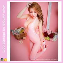 Pink Fishnet Sheer Nylon Body Meia Sexo Malha Ladies 'Corset European Nurse Uniforme Adulto Sexy Costume Partido Lingerie