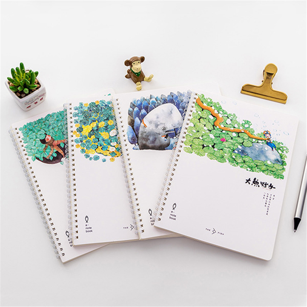 School Kids Writing Spiral Notepad Notebooks