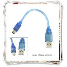 20cm USB A MINI 5PIN USB 2.0 Macho a Mini 5 Pin B Datos macho Cables Transparente azul