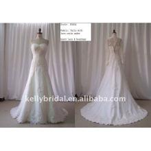 Tulle com cetim de renda sob o vestido de casamento Lave & Beadingcustom pesado B1034