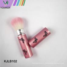 Boîtier en métal avec pinceau de maquillage de couleur de couverture