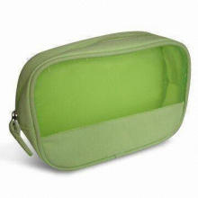 Cosmetic Bag with Piping and Nylon Mesh, Made of Canvas or Nylon