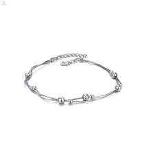 Elegante jóias artesanais jóias de ouro branco banhado a pulseira de tornozelo para as mulheres