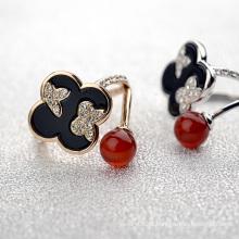 Moda novo design senhoras dedo anelar ágata indiana e anel de cristal do trevo para o desgaste diário