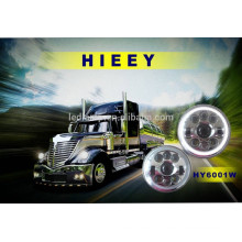 "DOT Approval 7"" round LED high beam low beam head lights with whole halo front position and daytime running lights"