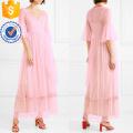 Pink Ruffle con cuello en V Bead-Embellished Tulle Wrap Maxi Summer Dress Manufacture Venta al por mayor Moda Mujeres Ropa (TA0328D)