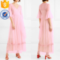 Pink Ruffle V-Neck Bead-Embellished Tulle Wrap Maxi Summer Dress Manufacture Wholesale Fashion Women Apparel (TA0328D)