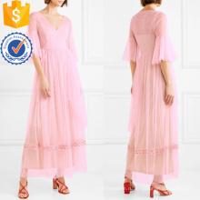Розовый Рябить V-образным вырезом бисером украшенные тюль Макси летнее платье Производство Оптовая продажа женской одежды (TA0328D)