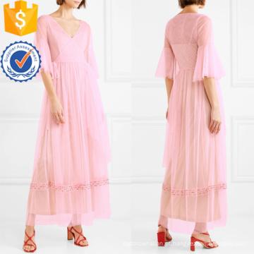 Rosa plissado v-pescoço bead-embelezado tule envoltório maxi vestido de verão manufatura grosso moda feminina vestuário (t0328d)