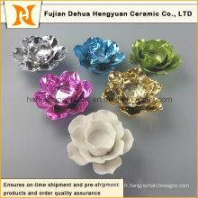 Bougeoir en céramique en forme de fleur coloré (Décoration intérieure)