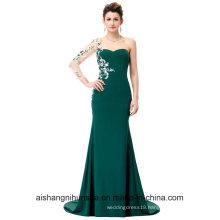 Asymmetrical Long Sleeve Evening Dress