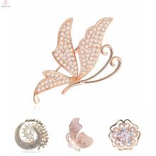 La última flor cristalina elegante de lujo Broches Broche, Broche animal del Rhinestone de la mariposa al por mayor