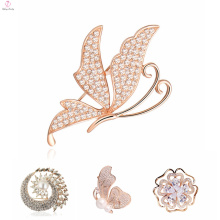 Latest Design Fancy Crystal Flower Broches Brooch Pin, Wholesale Butterfly Rhinestone Animal Brooch
