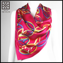 2015 New Design Red Square Printed Silk Scarf