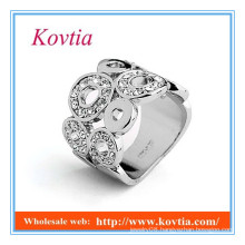 Personalized 18k white gold wide band puzzle ring