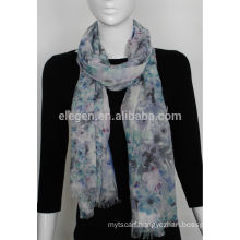 Acrylic Printed Scarf with Blue Flower