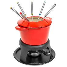 Fondue de esmalte de hierro fundido de Best Choice Products con 6 tenedores