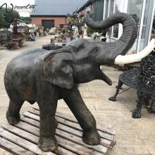 Grand décor de jardin en plein air bronze éléphant statue bangkok