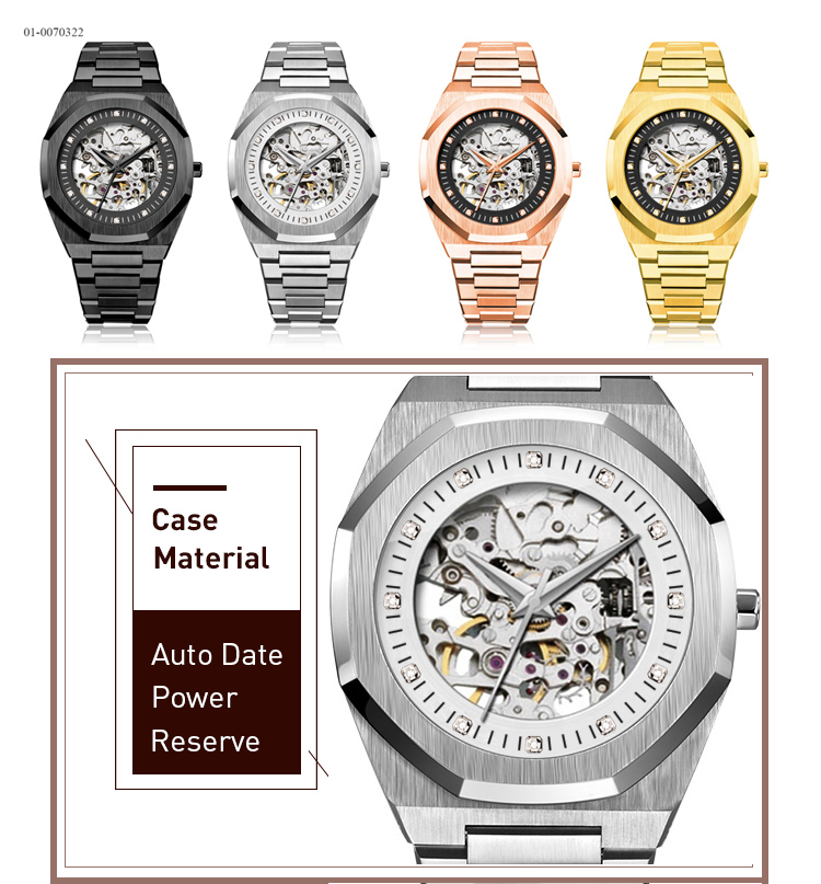 2019 New Japan Automatic Movement Men Skeleton Watch