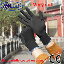 NMSAFETY 13 gauge black nitrile dipped gloves/sand blasting gloves