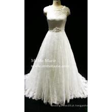 Vestido de noiva de boné de noiva Vestido de noiva com faixa de contas BYB-14554