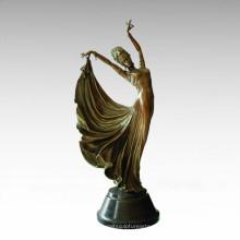 Estatua oriental Pavane tradicional señora Escultura de bronce Tple-034