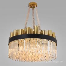 Indoor luxury modern lustre large round gold metal light crystal chandelier lighting for hotel