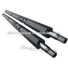 cilindro de parafuso cilindro de parafuso duplo cônico de PVC cilindro de parafuso duplo para extrusão de perfil de PVC