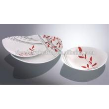 Ensemble de dîner en céramique 12pcs avec décalque rose, set de dîner carré, ensemble de vaisselle en porcelaine