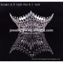 Großhandel Metall Silber überzogen runde Festzug Kronen für Könige und Königin