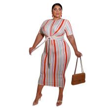 Stripe print lace up fashion plus size dress with stripe women clothing