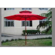 Double Roof Delux High Quality Wooden Umbrella