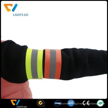 Bracelets de bande de bras réfléchissants extensibles éco-personnalisés bon marché